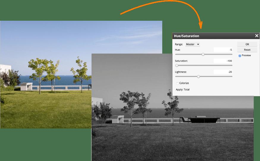 Built-in image editor in Pics.io