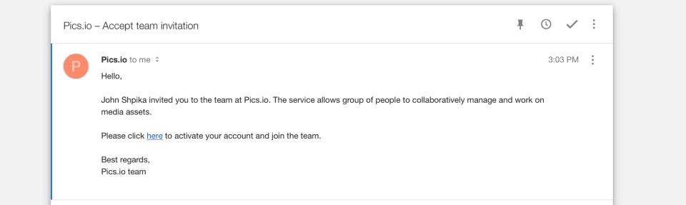 Pics.io email invitation
