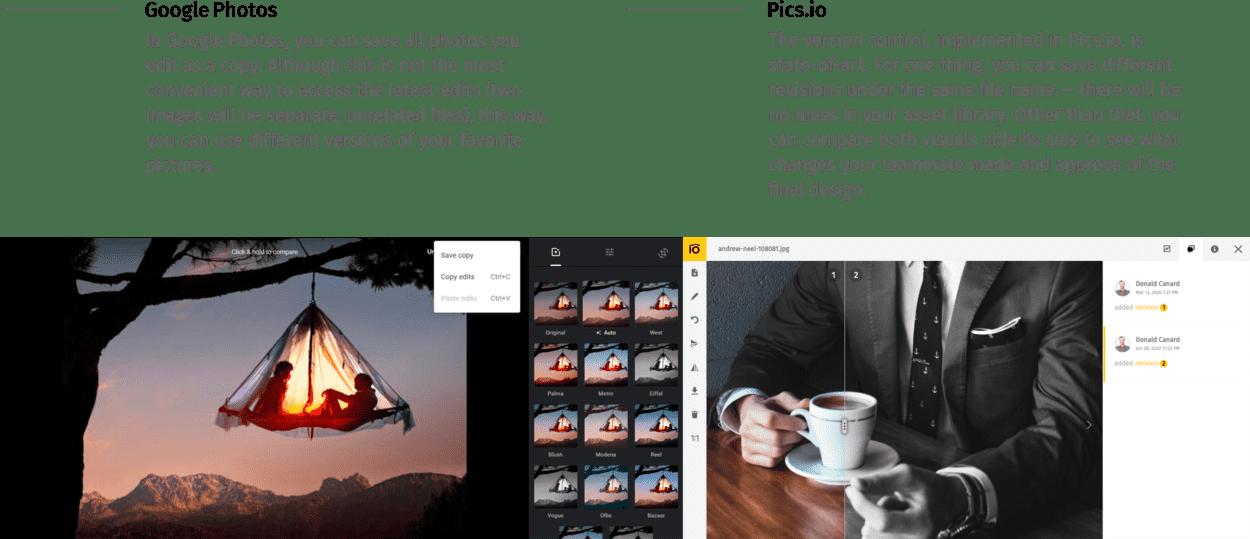 Version control Google Photos vs. Pics.io