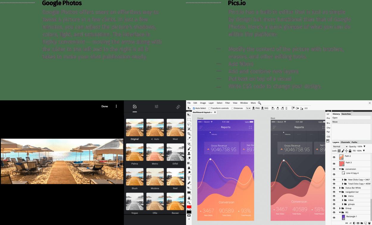 Built-in editor Google Photos vs Pics.io