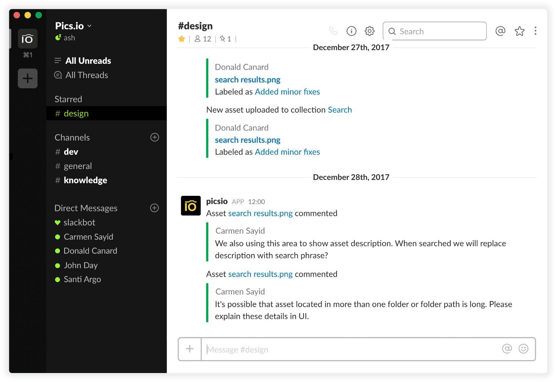 Pics.io & Slack integration