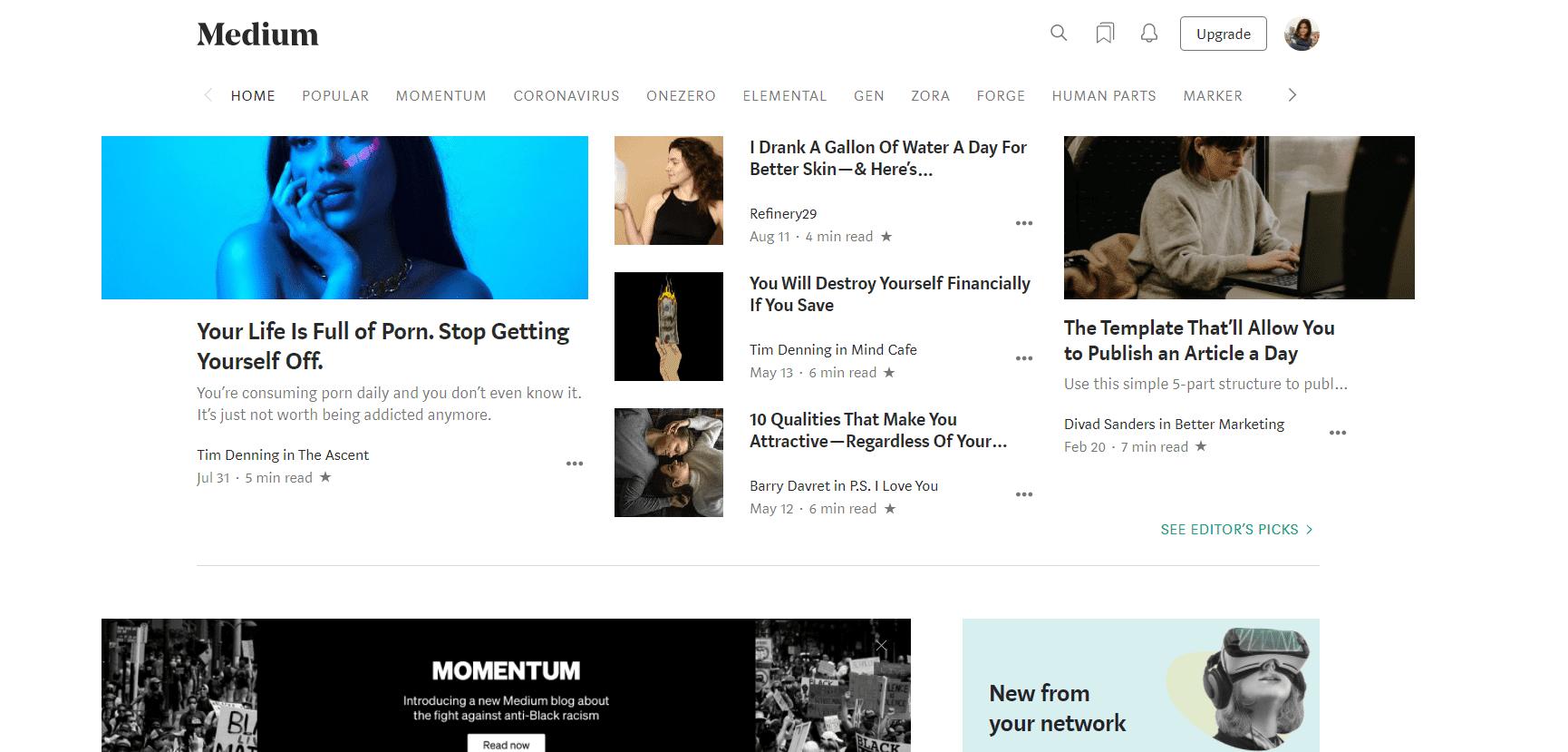 Medium webpage