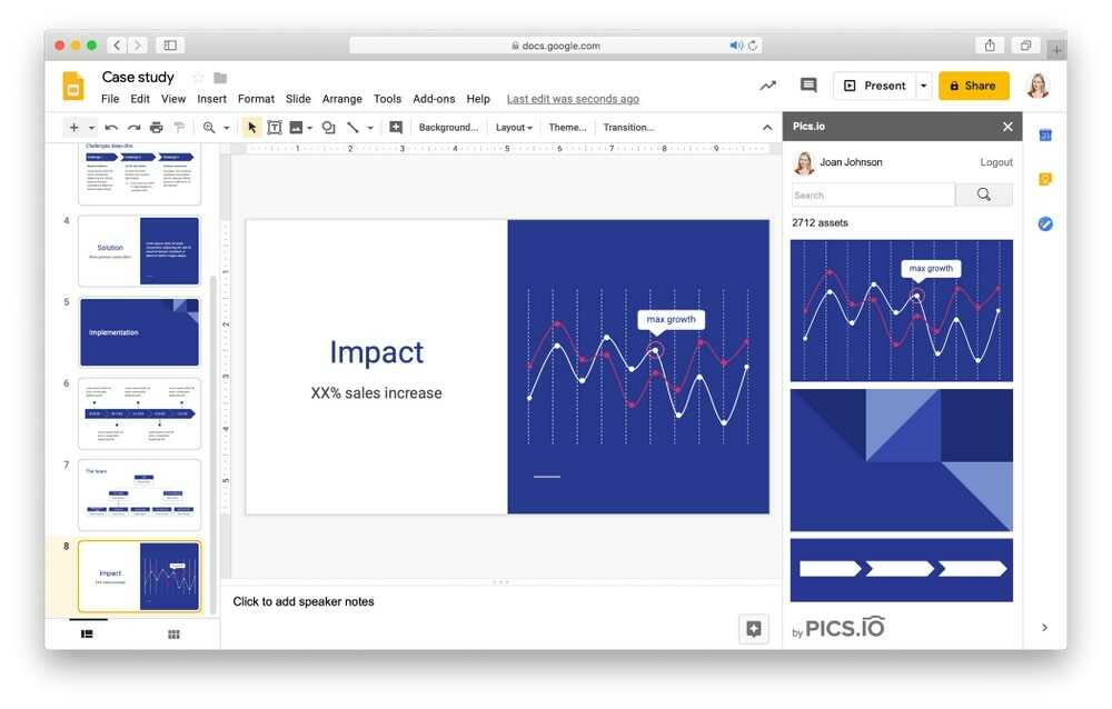 Google Slides Management in Pics.io