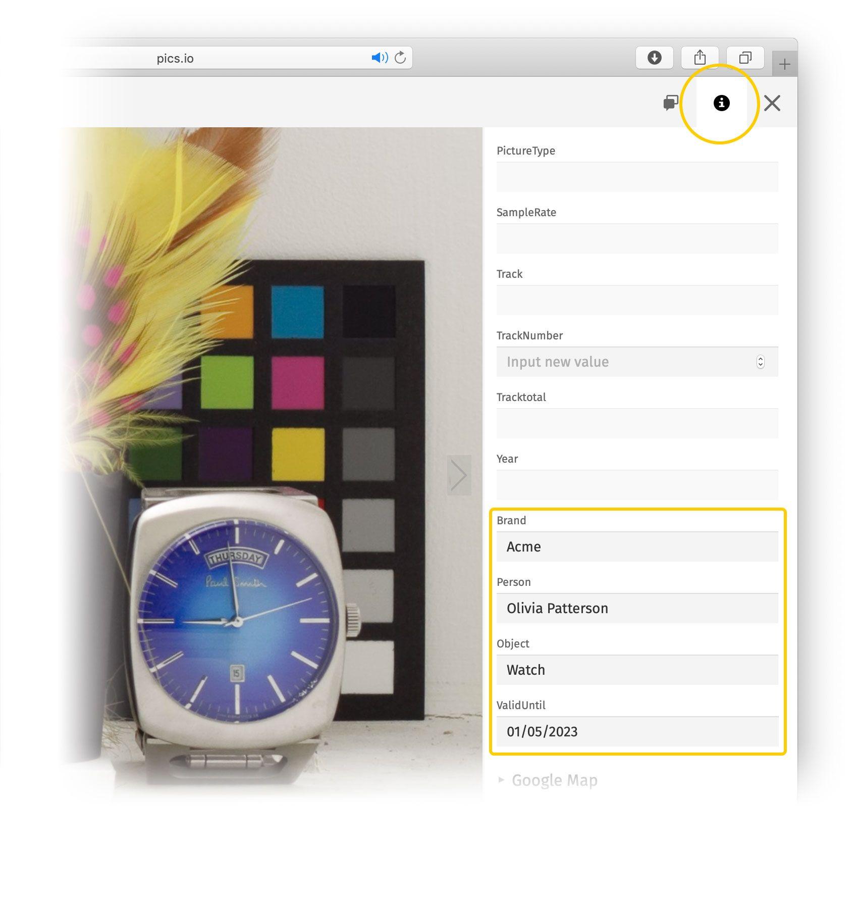 EXIF metadata in Pics.io