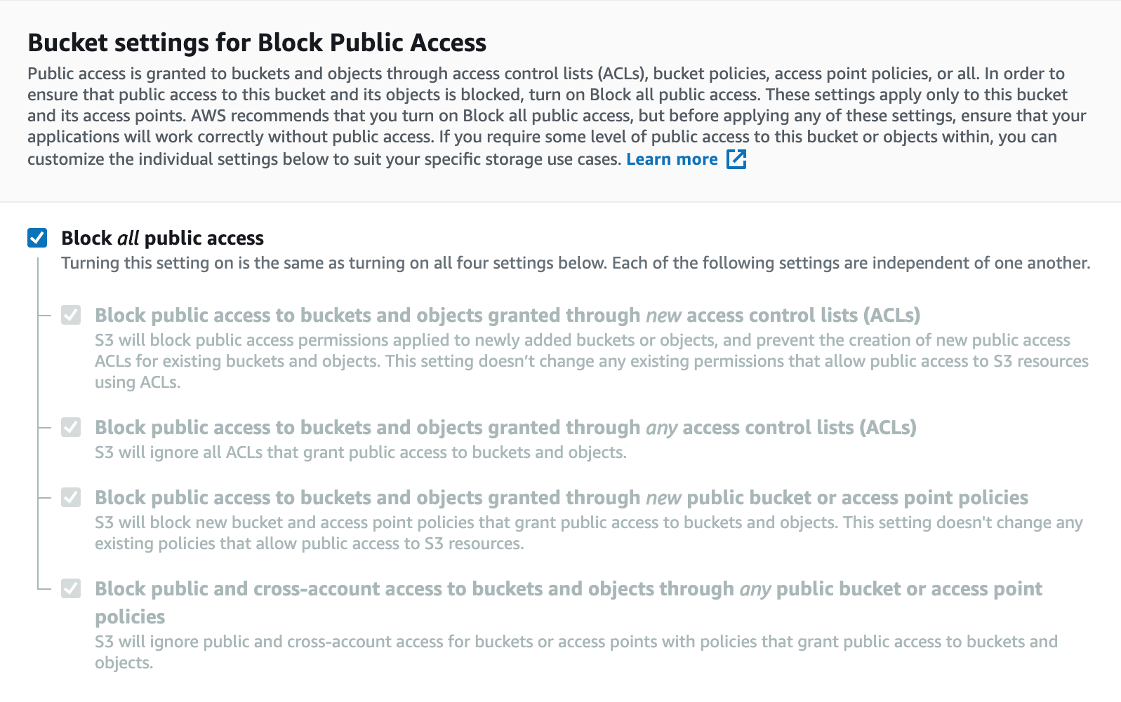 Bucket settings for public access