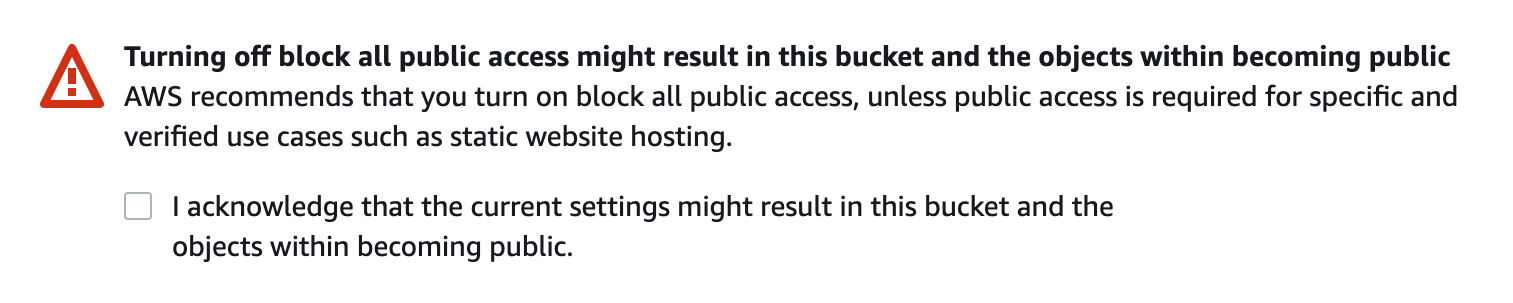 Warning from Amazon S3 if you make your bucket public