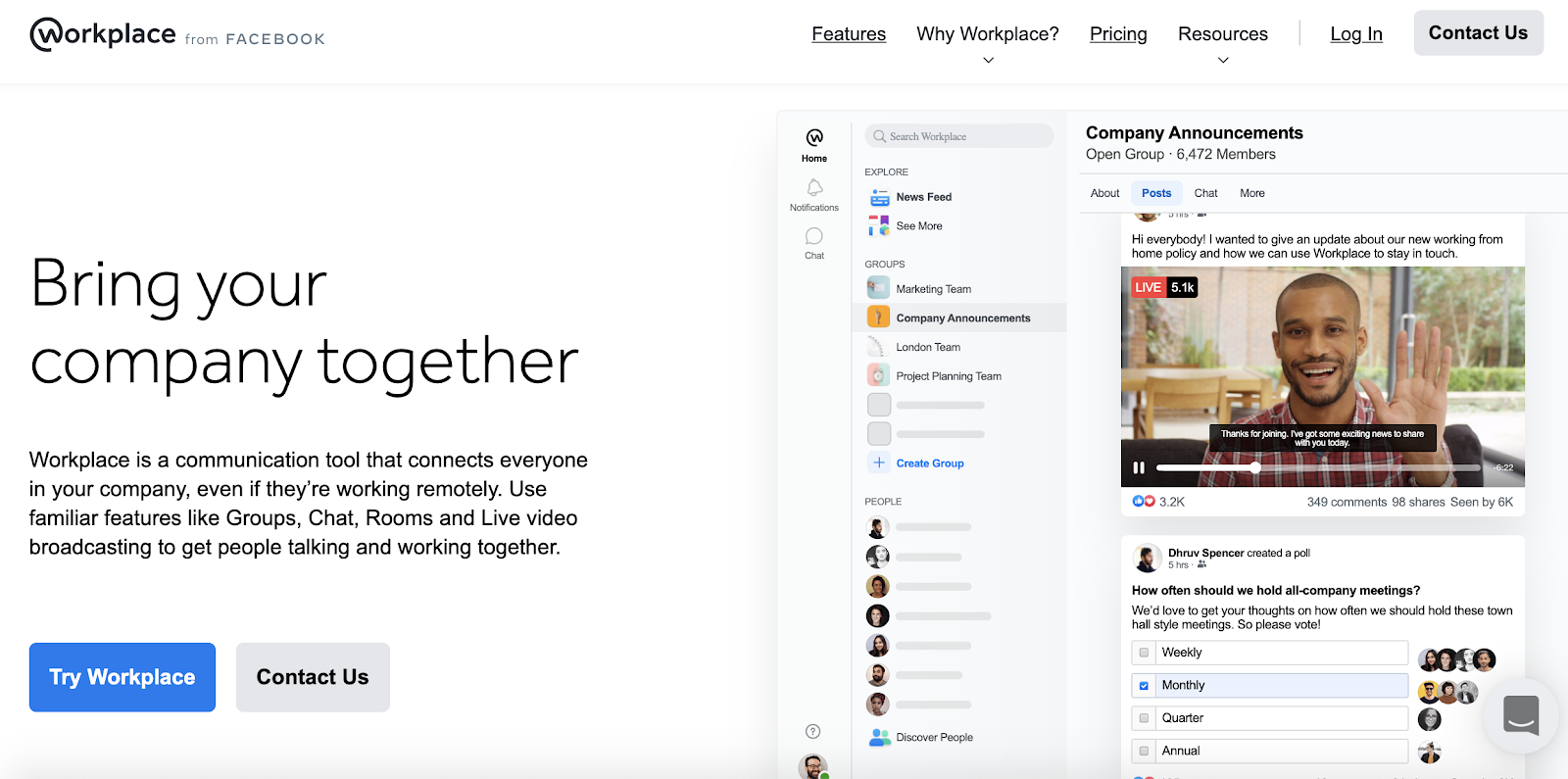 Workplace from Facebook interface
