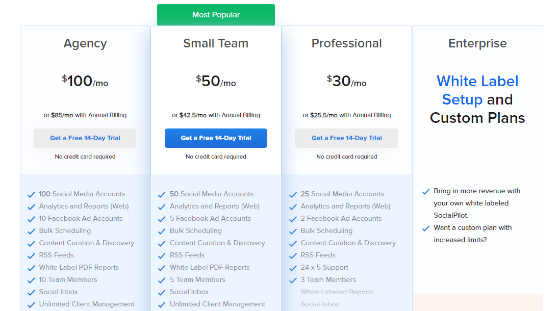 SocialPilot pricing
