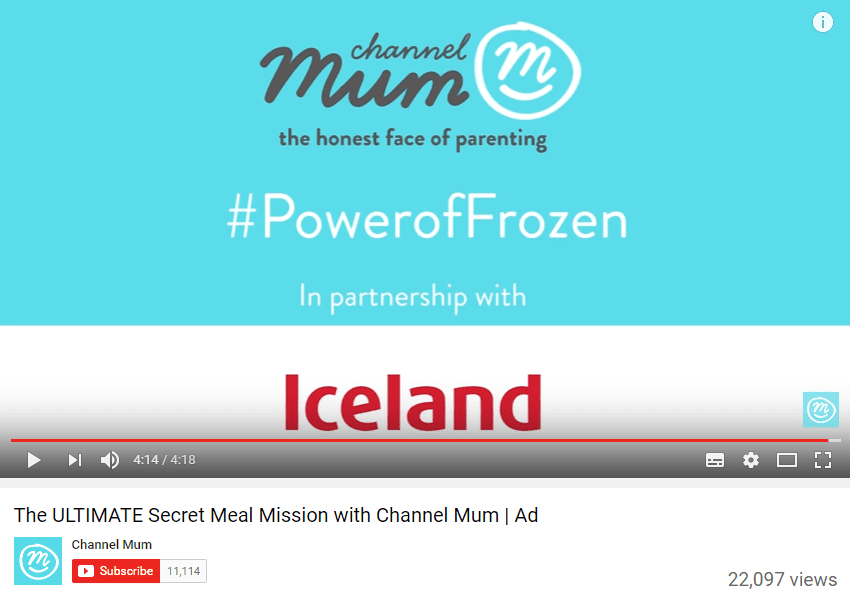 Iceland ad together with Channel Mum
