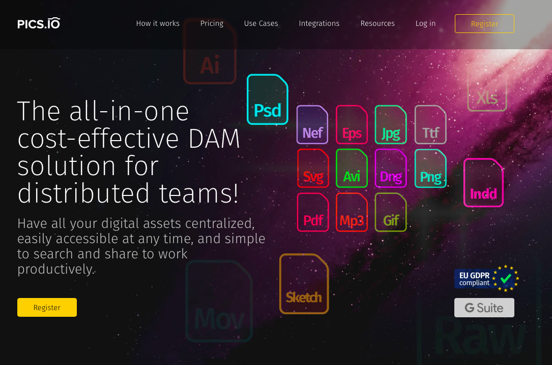 Pics.io DAM interface