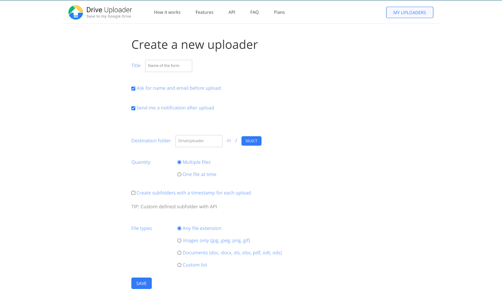 Create a new uploader