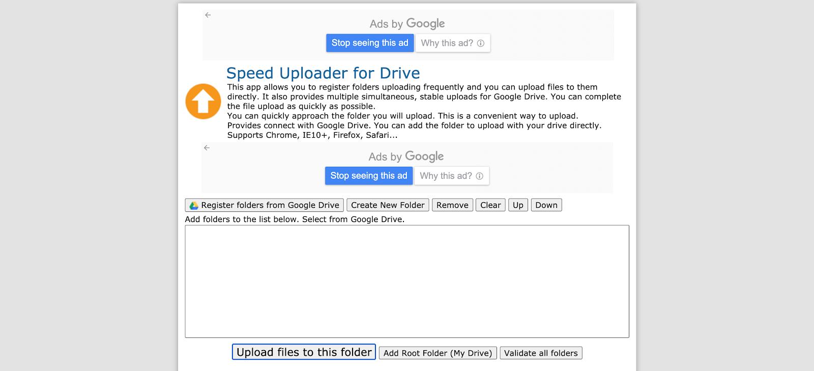 Upload files in Speed Uploader