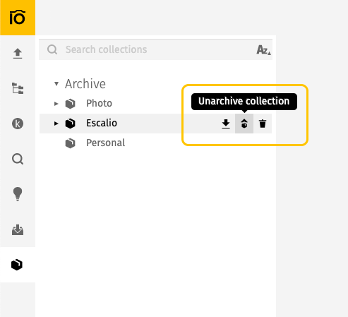 Unarchive your collections
