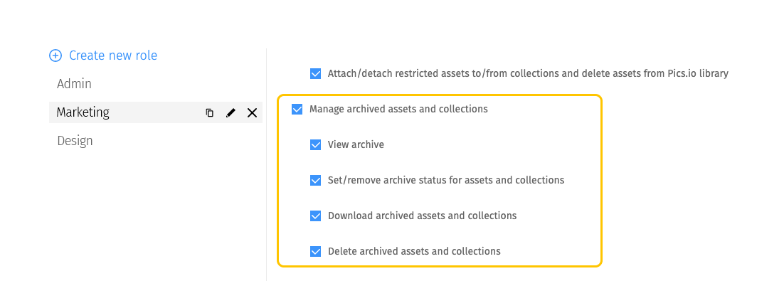 Set roles and permissions for archiving in Pics.io