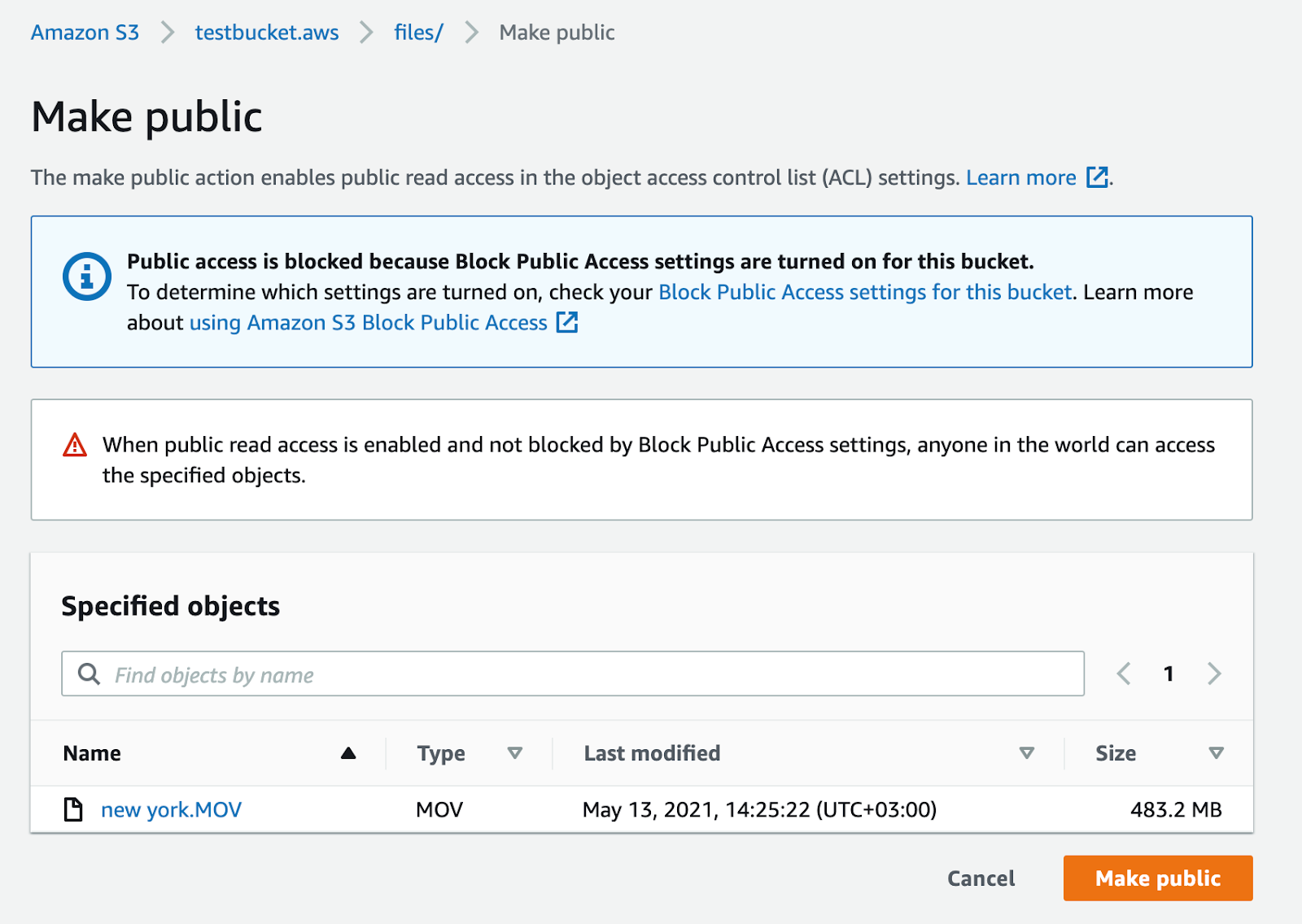 Make the video public to run it in Amazon S3