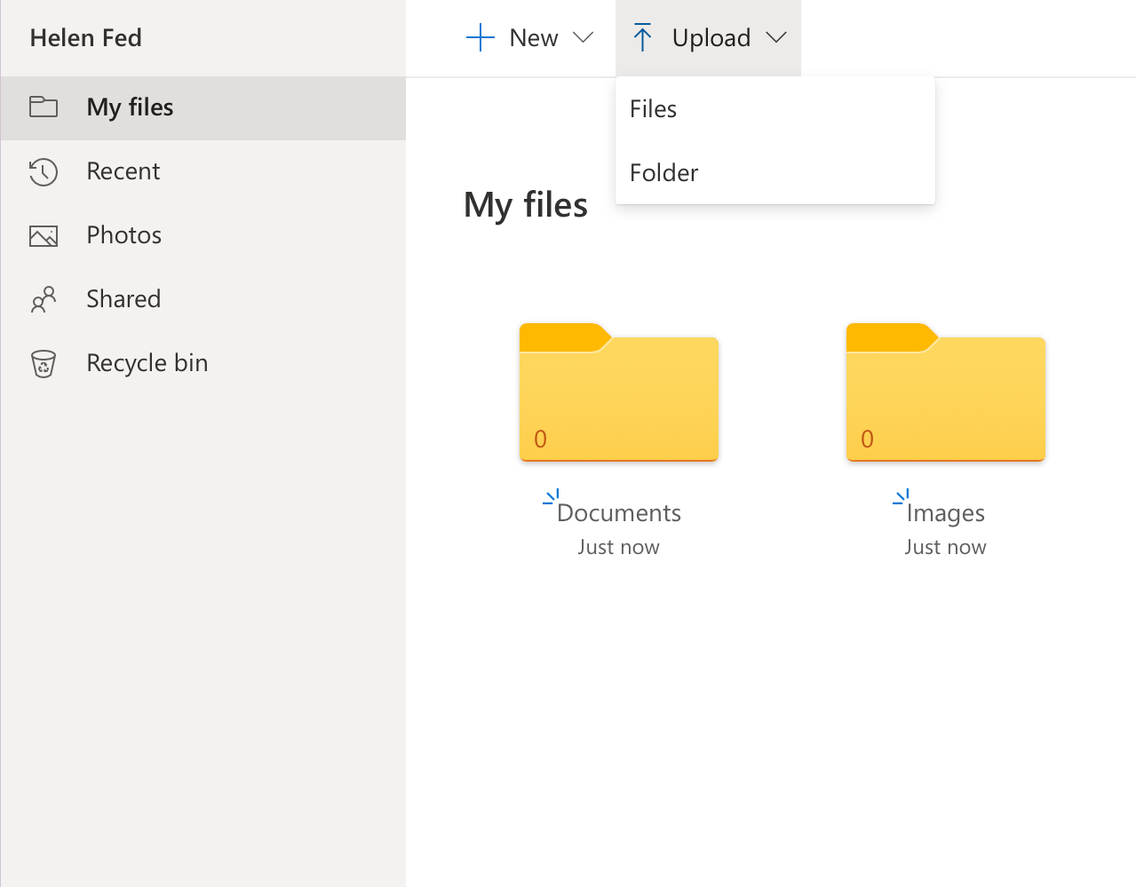 Click Upload, then Files