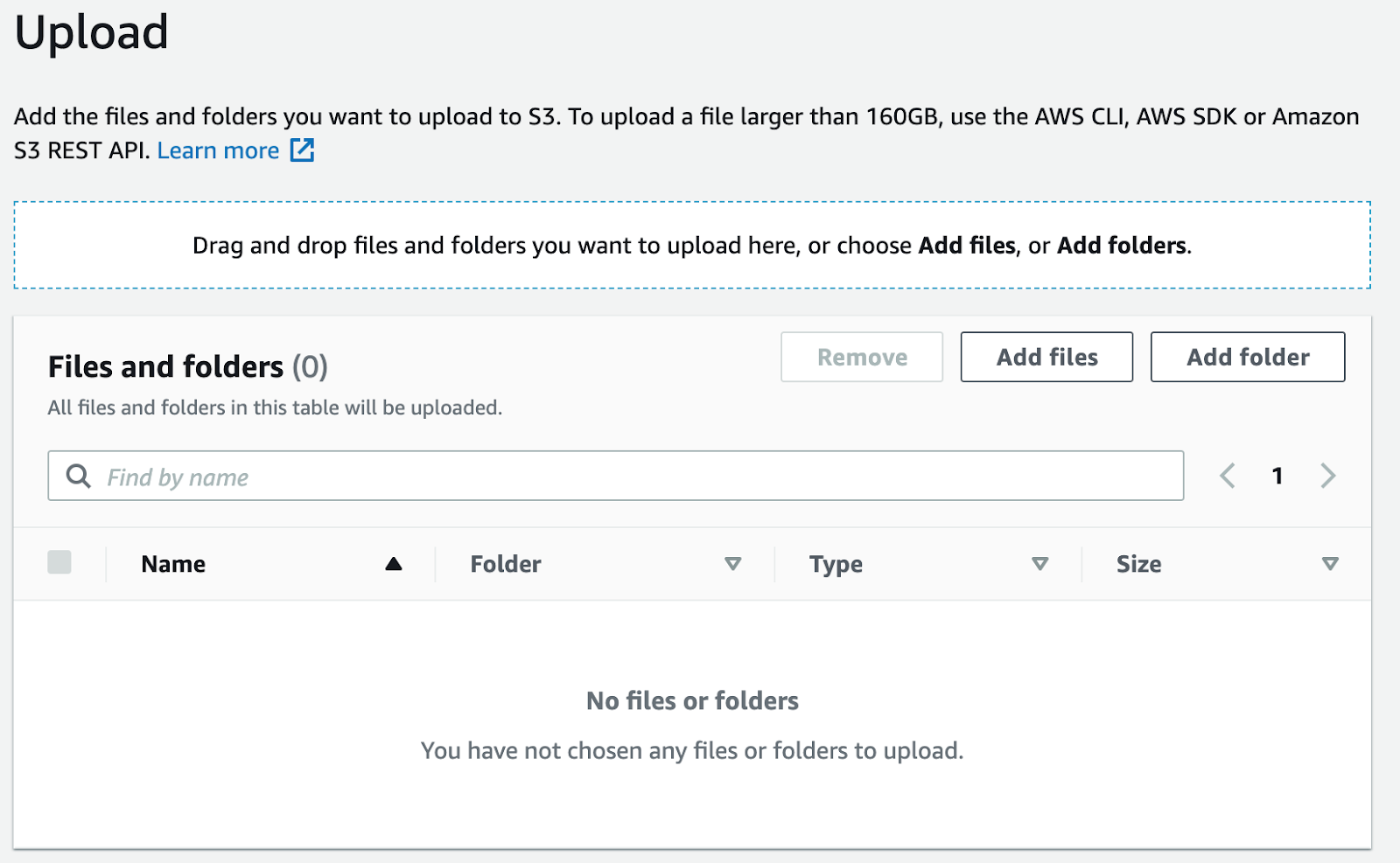 Click Upload, then Add files