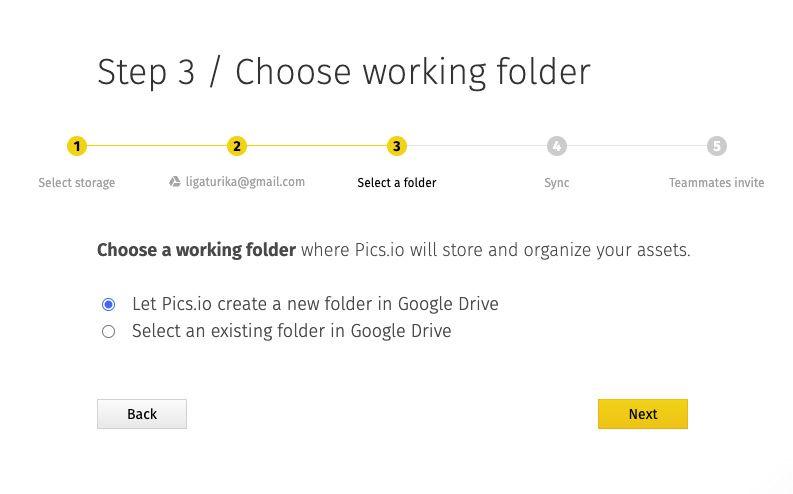 Choose the working folder