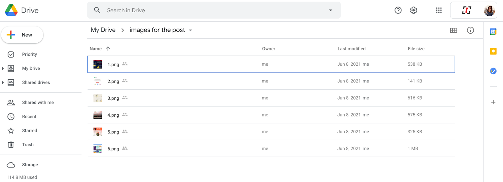 Open your Google Drive account and browse the folder that you want to upload your files into
