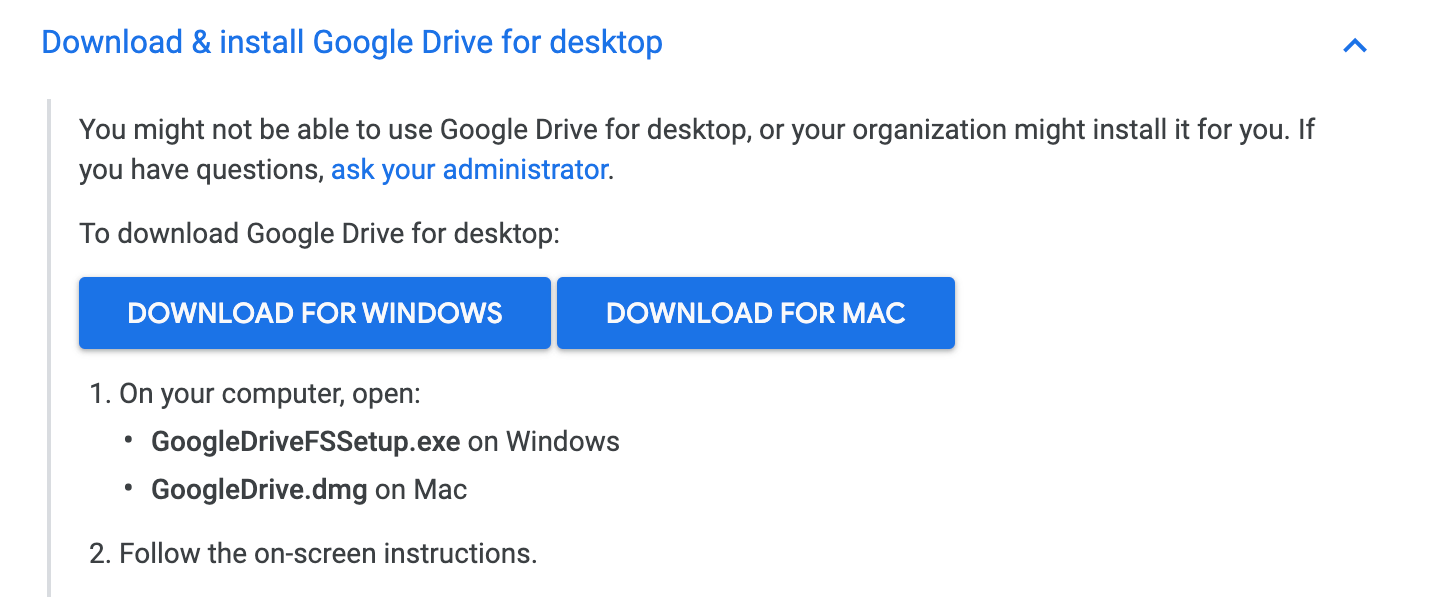 Download and install Google Drive for desktop