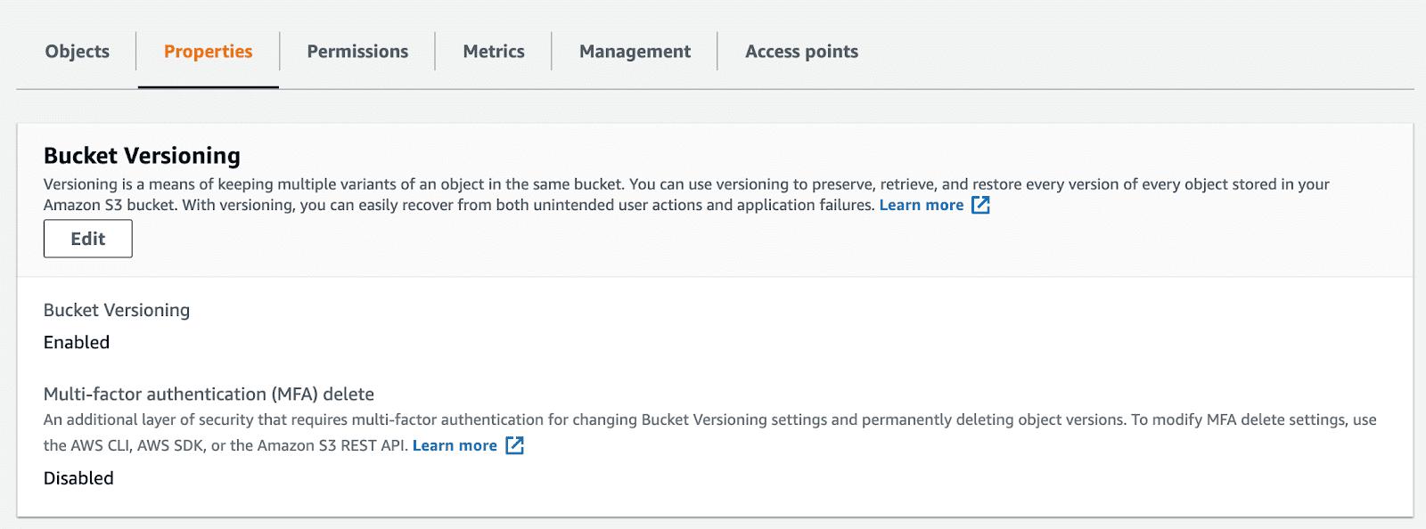 Change advanced settings for your bucket