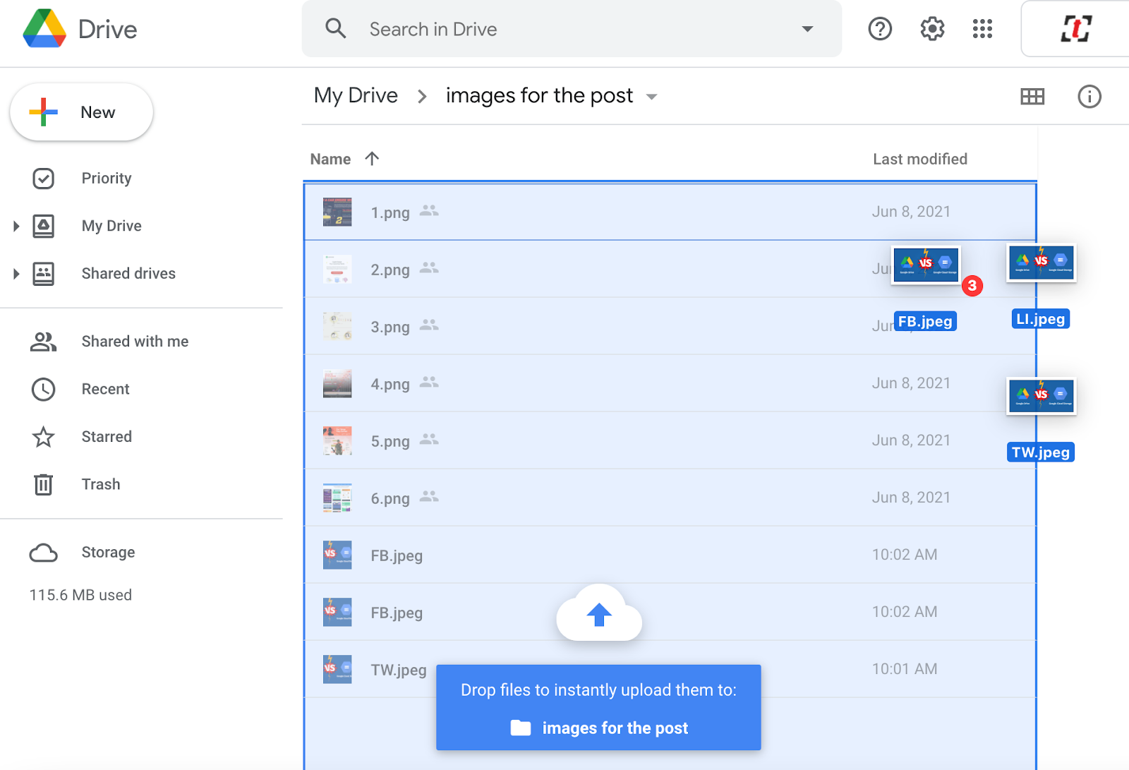 Drag-and-drop files from the folder or desktop to your Google Drive