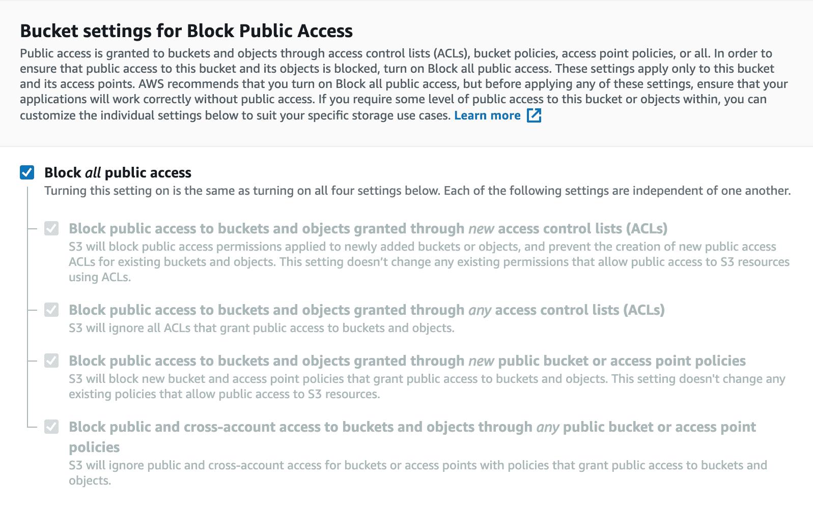 Bucket settings for public access