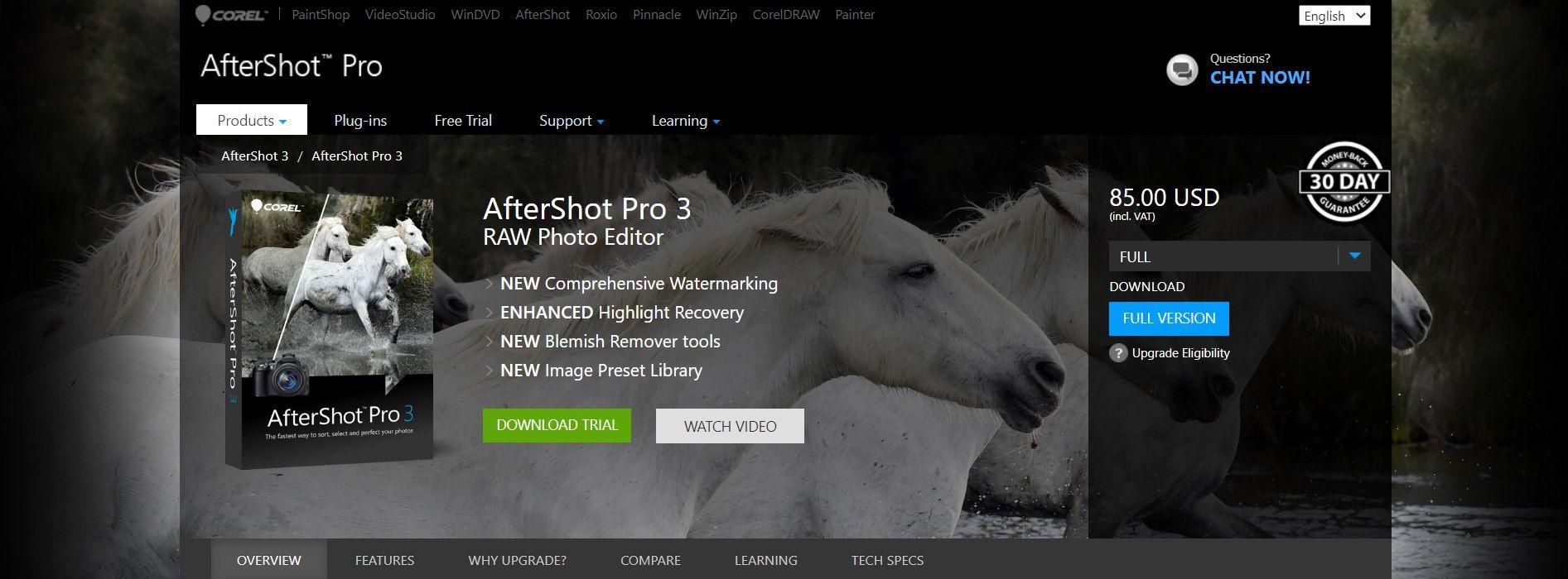 Corel AfterShot 3 interface